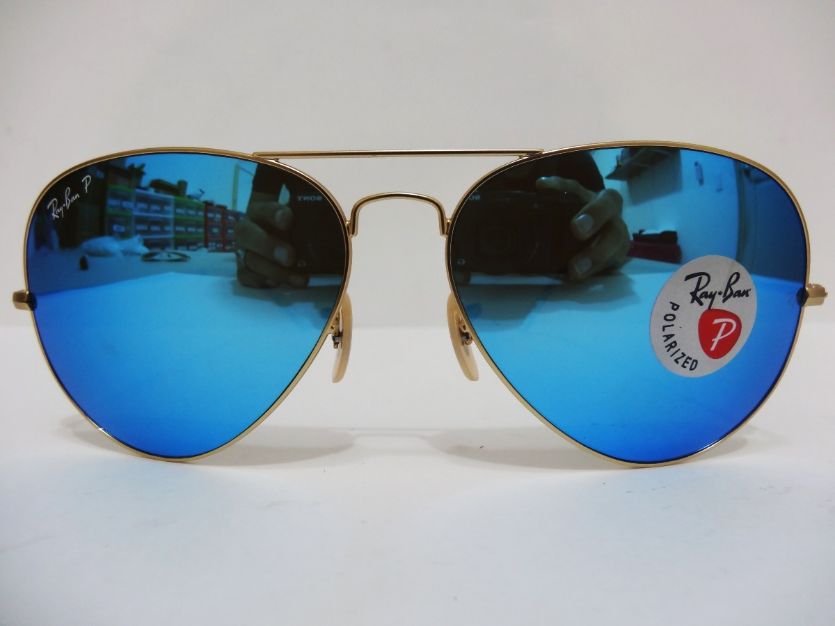 d8599f751bce5 Ray Ban Aviador Polarizado Rb3025 112 4l 58mm Azul Espejo ...