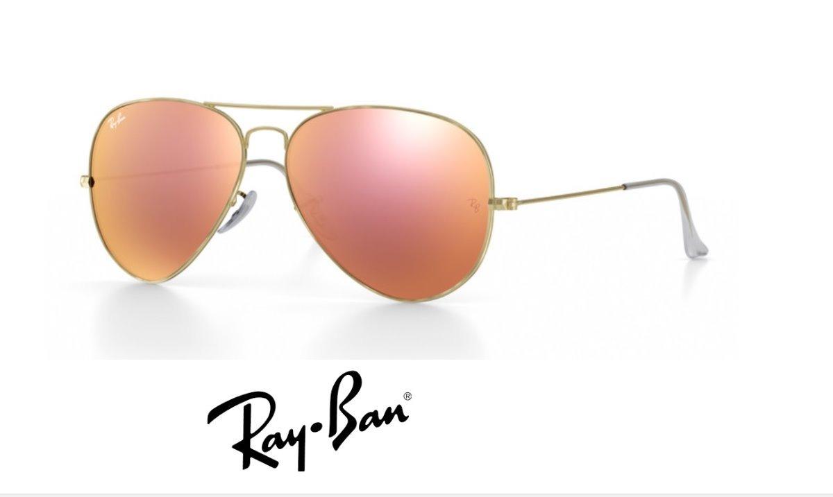 542c51a2f ray-ban aviador rb3025 dourado com rosa espelhado original. Carregando zoom.