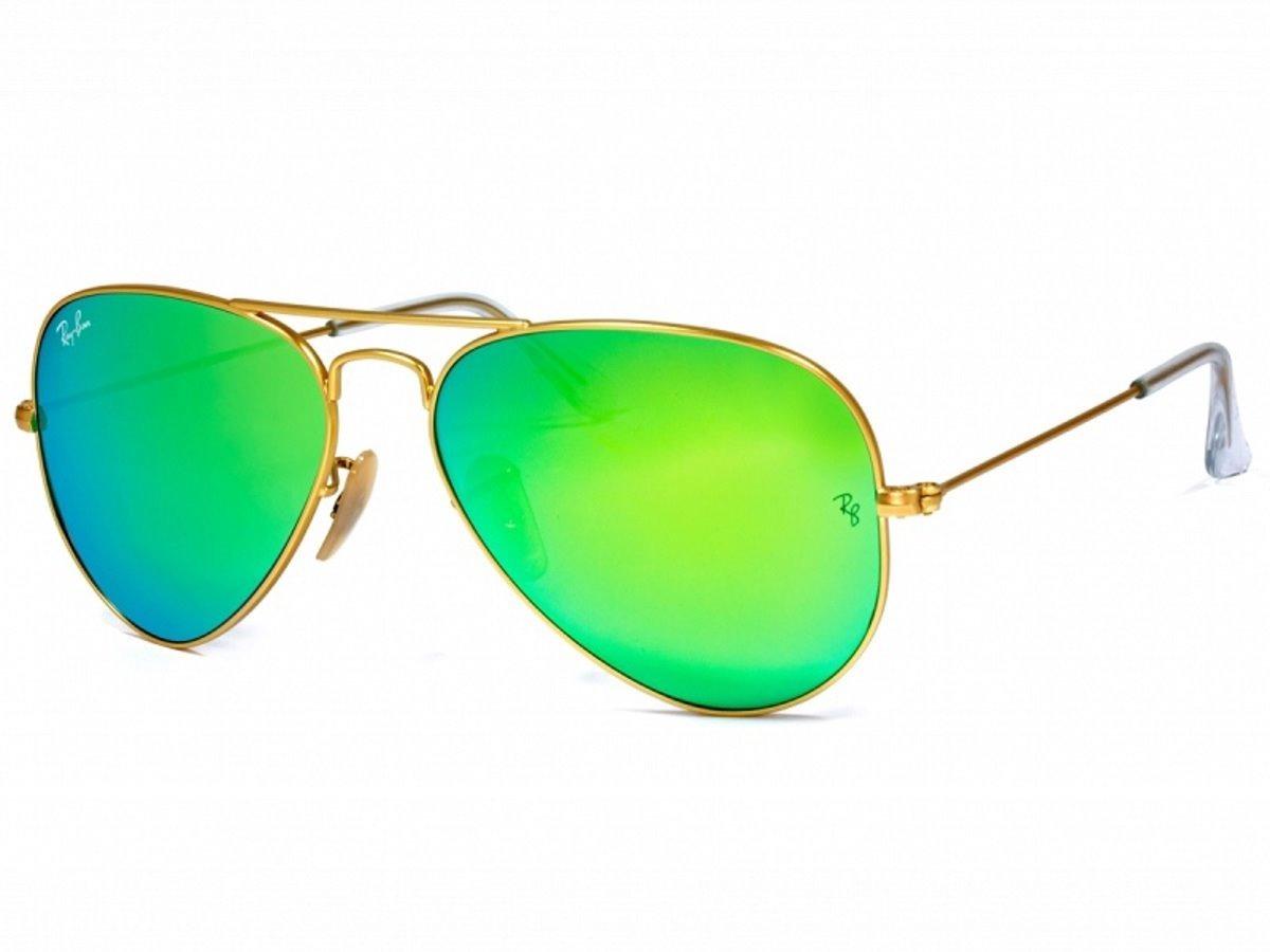 12e58617216e0 ray-ban aviador rb3025 dourado com verde espelhado original. Carregando zoom .