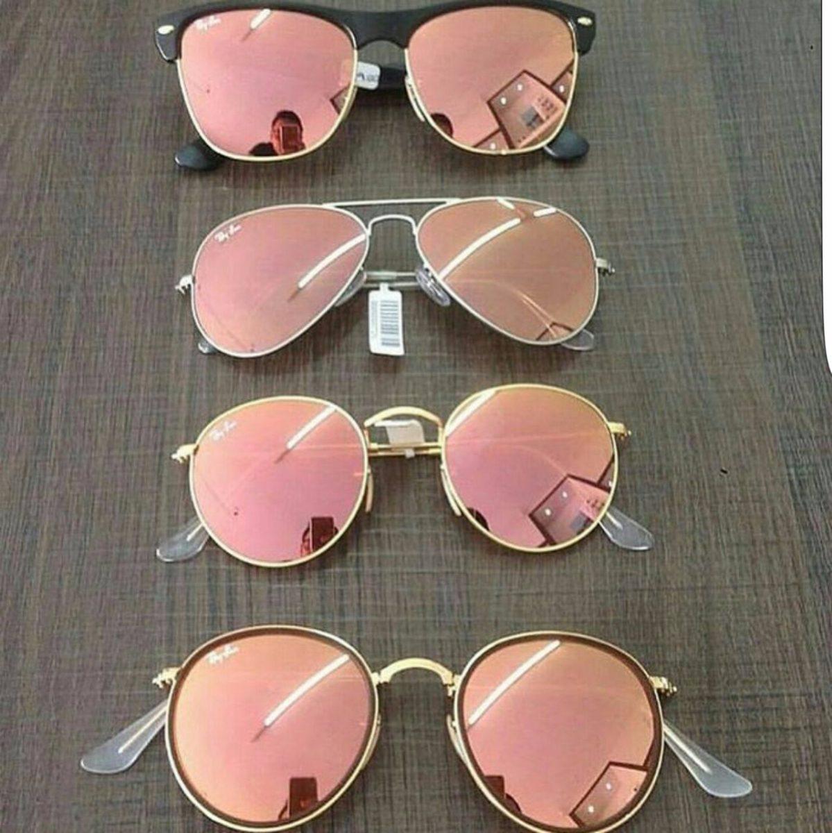 e3cea4831d2d0 Ray Ban Aviador Rose Rosa Espelhado Rb 3025 3026 Original - R  350,00 em  Mercado Livre