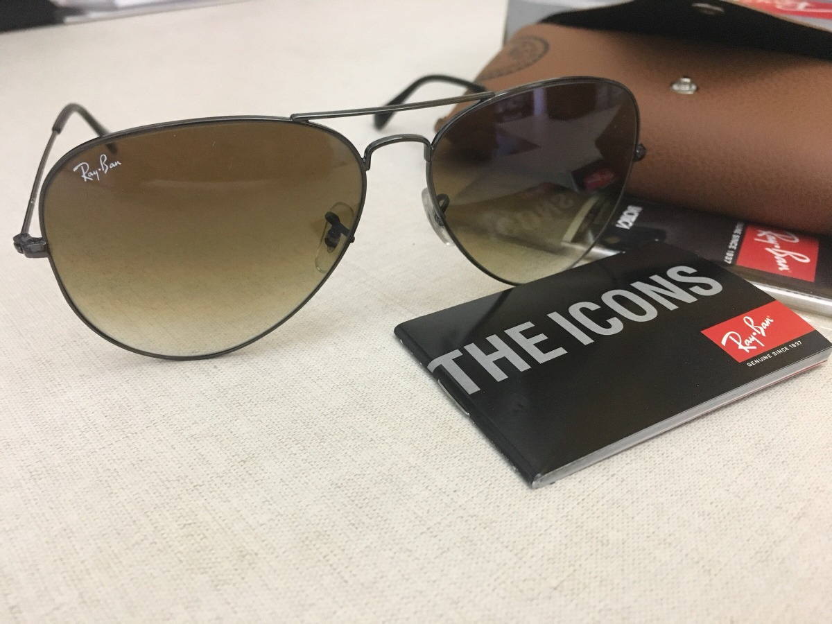 Ray Ban Aviator 3025 Marco Negro Lentes Marrón Degradé -   2.300,00 ... 27bf7da979