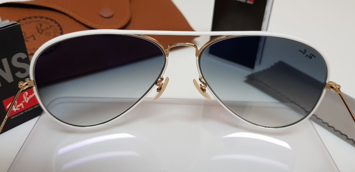 060feb8013e28 Carregando zoom... óculos sol ray-ban aviator full color rb3026 148 32  branco