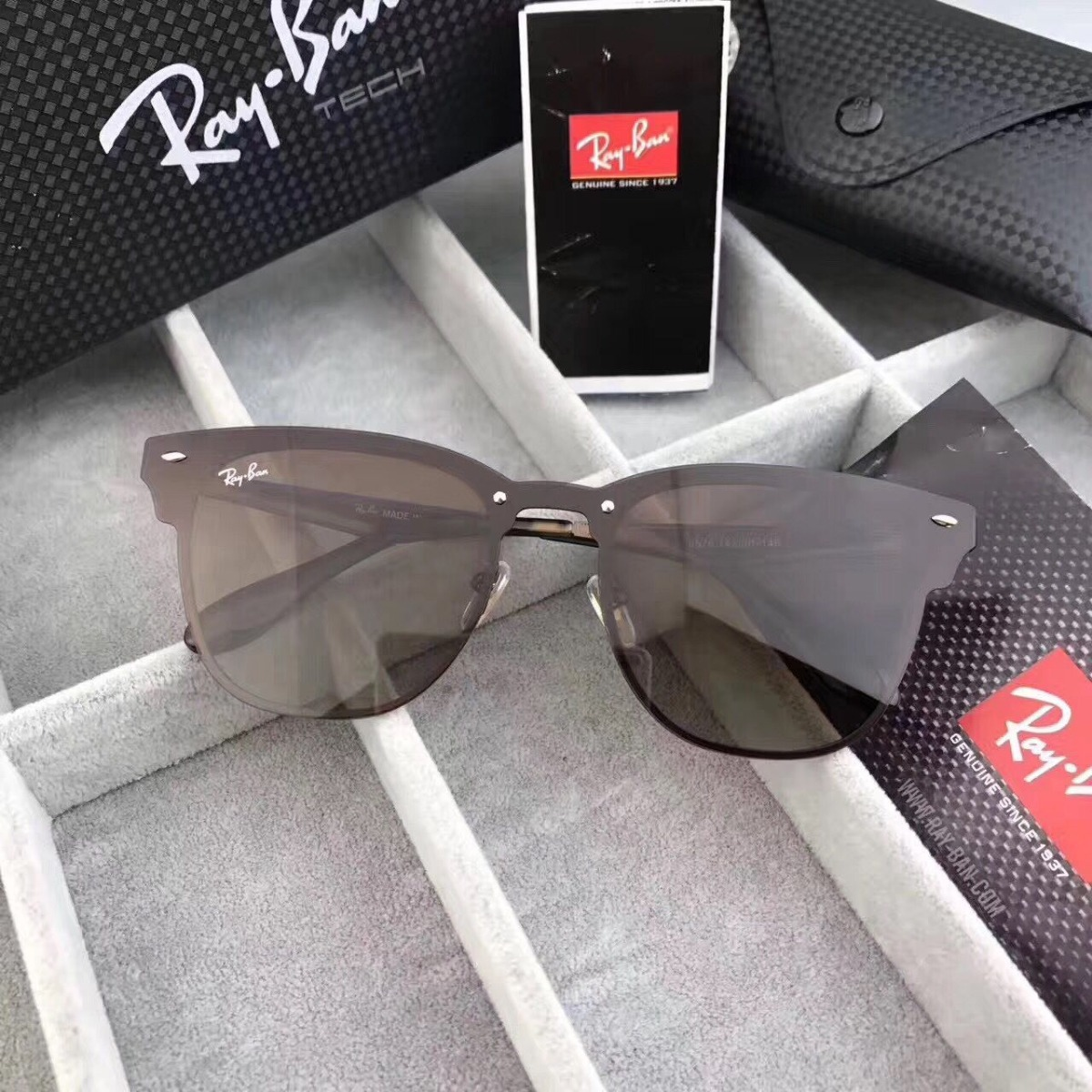 298069551a Ray-ban Blaze Clubmaster Rb3576 Oculos De Sol Caixa Tech - R$ 215,90 ...