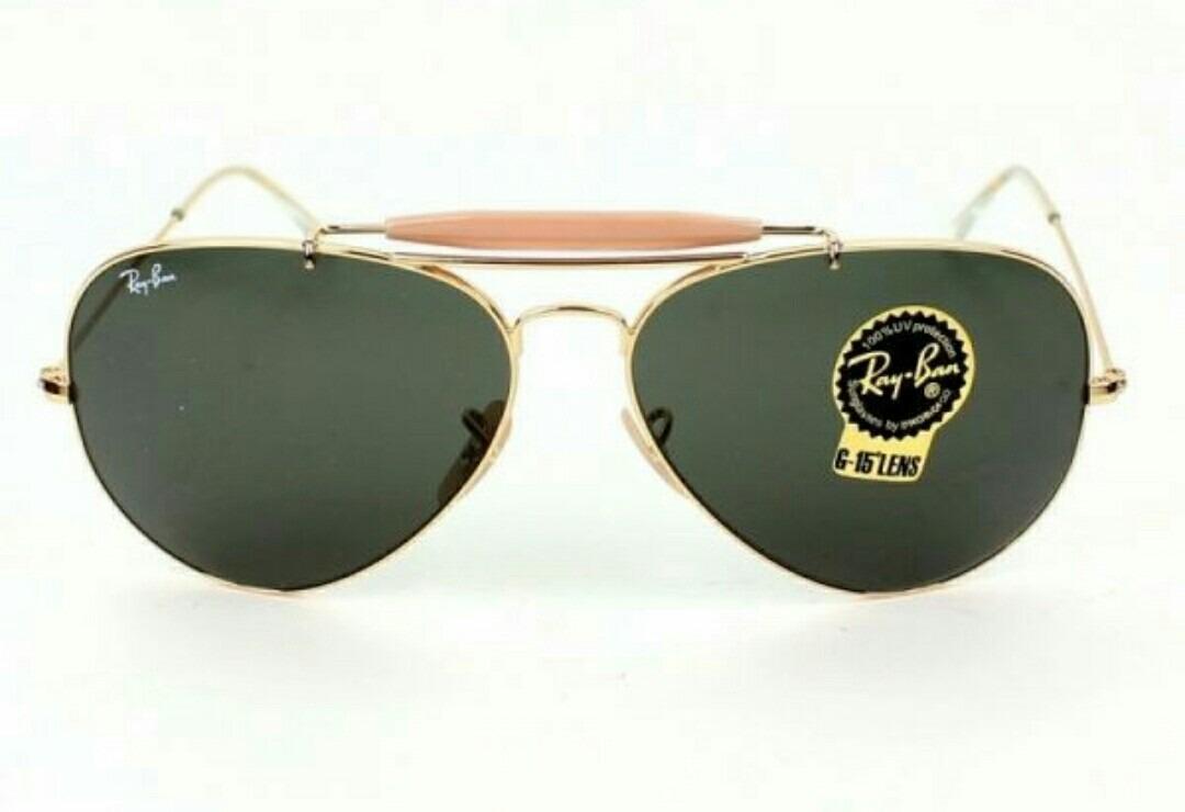 a06a3f1fb3fef ray ban caçador dourado com verde escuro lente de cristal. Carregando zoom.