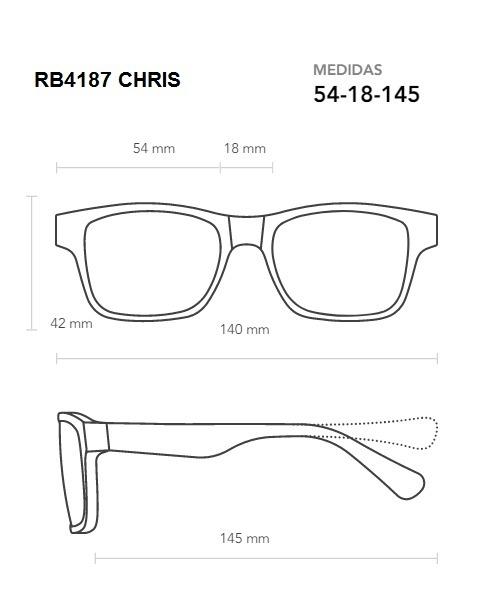 0531ea19684b3 Óculos De Sol Ray-ban Chris Rb4187l 54-18 Degradê Promoção - R  199 ...