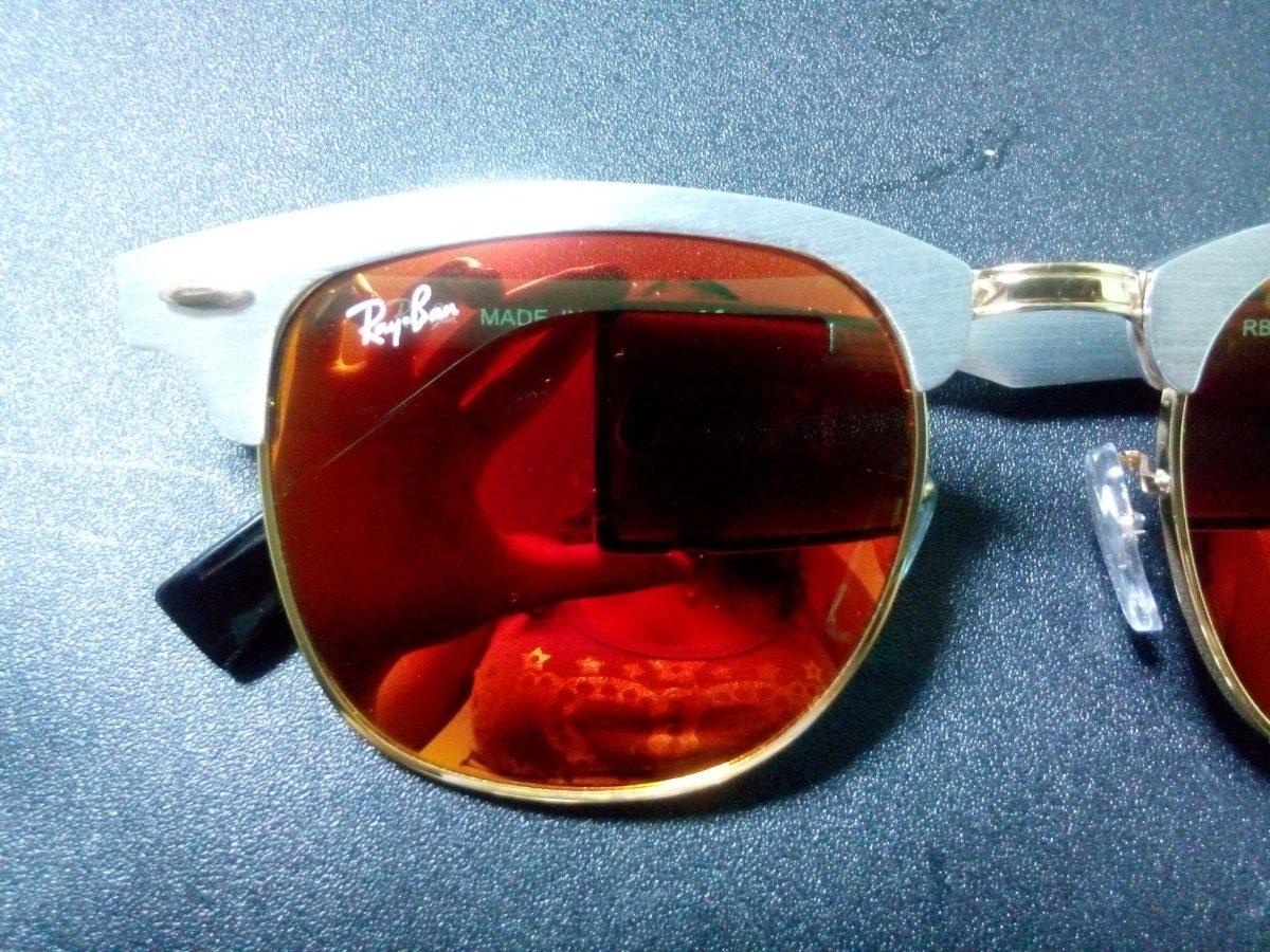 afd6a1f743c1e ray ban clubmaster 3507 prata lente vermelho espelhado. Carregando zoom.