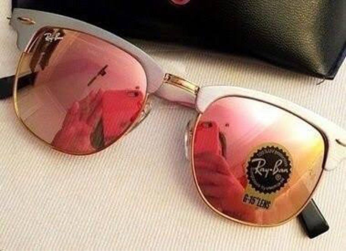e59cbeb4a5887 Ray Ban Clubmaster Rose Gold Rosa Espelhado Feminino - R  169,90 em ...