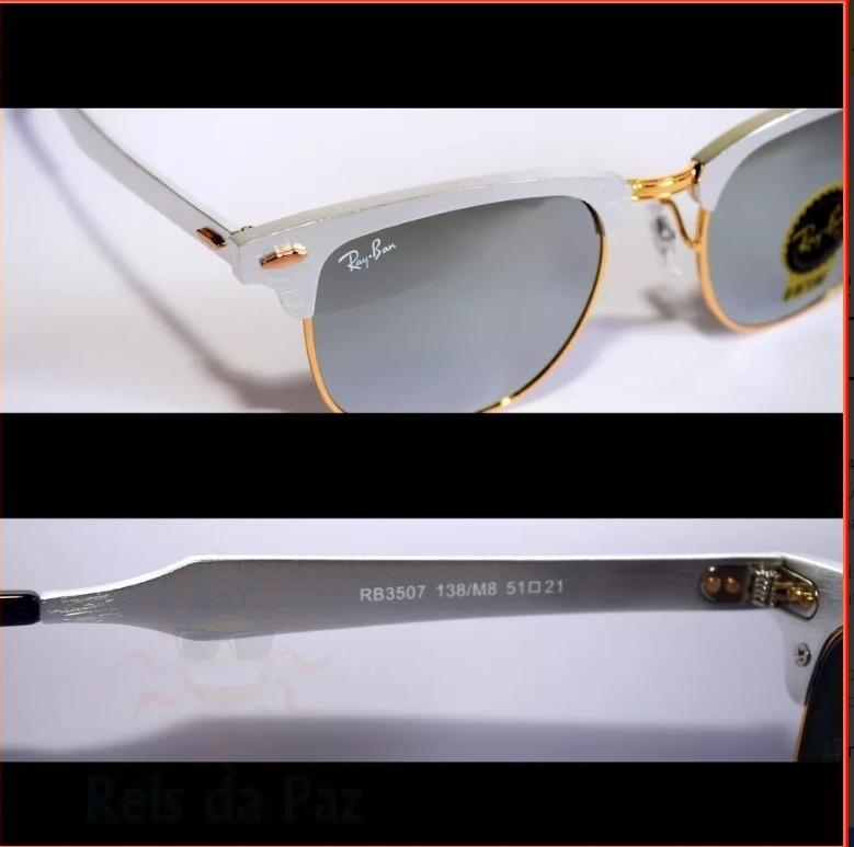297a534cd7b92 Ray Ban Clubmaster Titanium Aluminio Prata Espelhado 50% Off - R ...