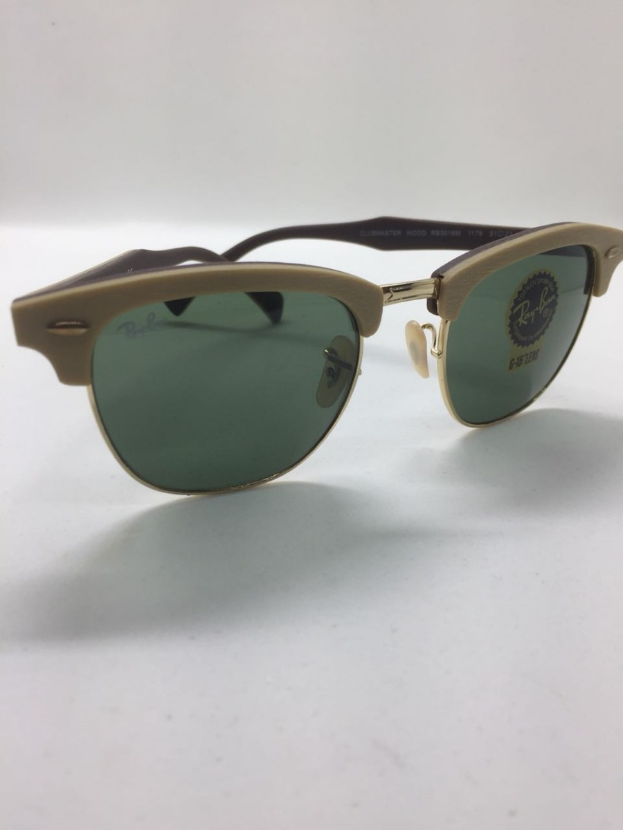Ray Ban Clubmaster Rb3016 Madeira Wood Marrom E Verde G15 - R  287 ... 6ad0054c2f