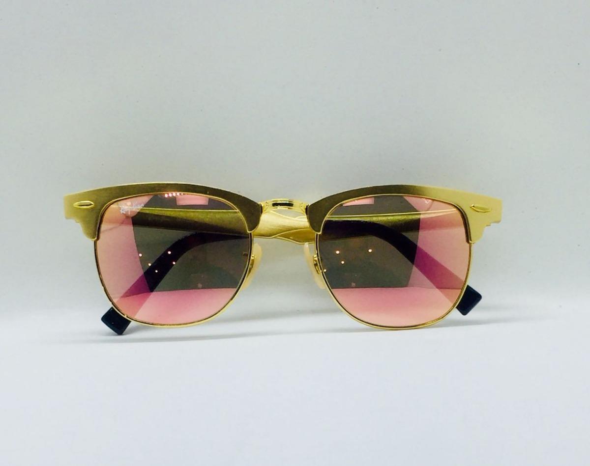 75849772eba3d ray ban clubmaster alumínio 3507 dourado com rosa original. Carregando zoom.