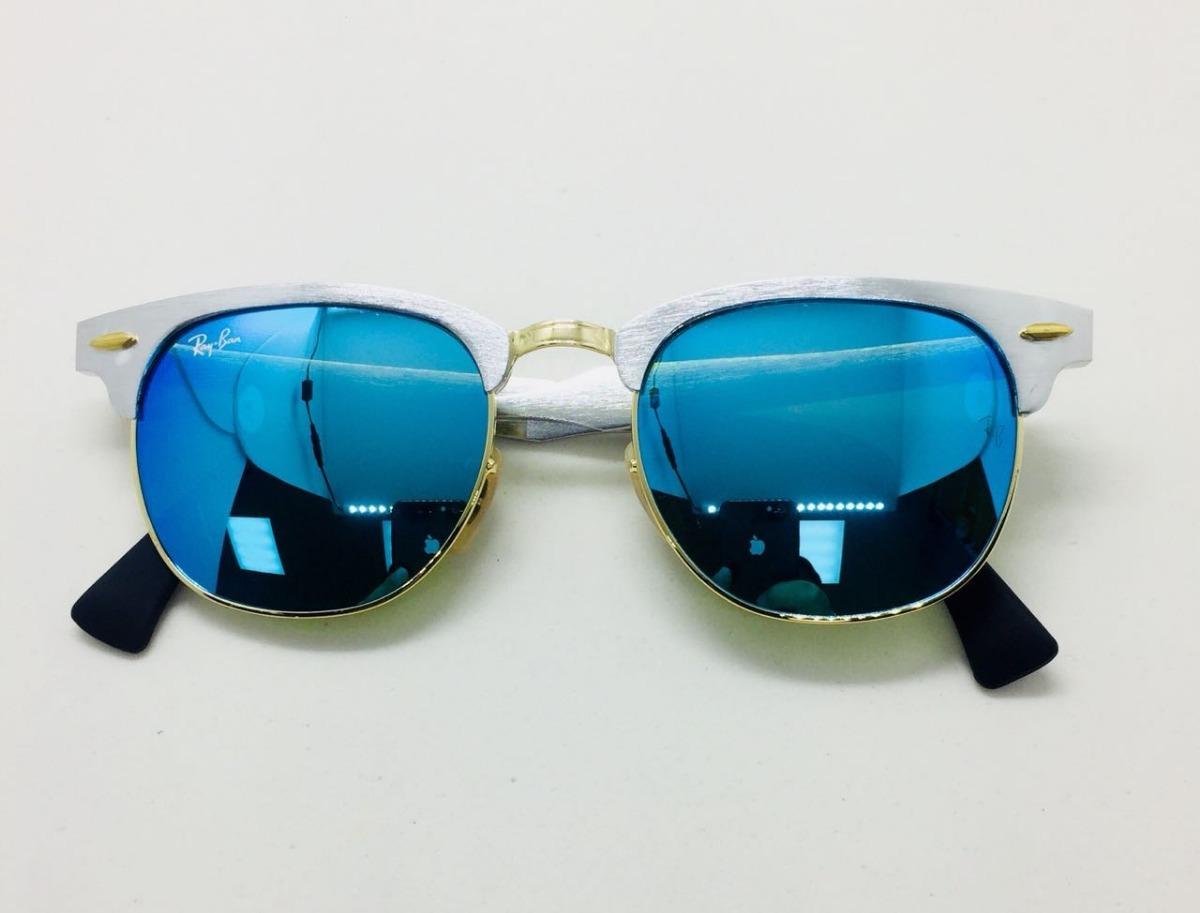 948d45b84358c Ray Ban Clubmaster Alumínio 3507 Prata Com Azul Original - R  230