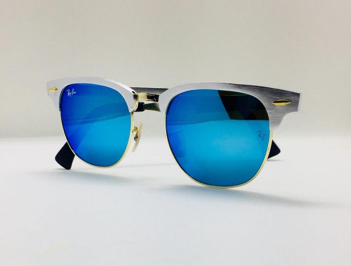 Ray Ban Clubmaster Alumínio 3507 Prata Com Azul Original - R  230,00 ... 007ab6f8ba