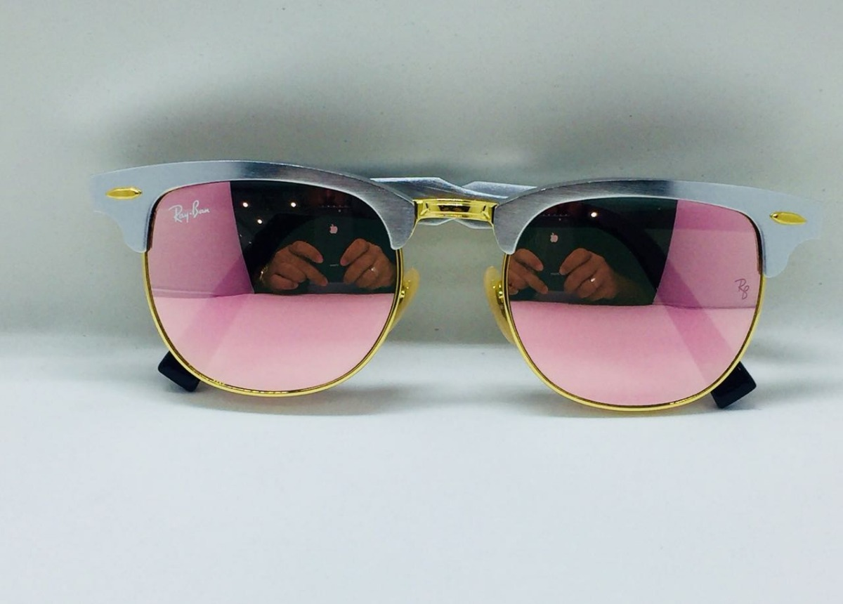 7852175af97d0 ray ban clubmaster alumínio 3507 prata com rosa original. Carregando zoom.