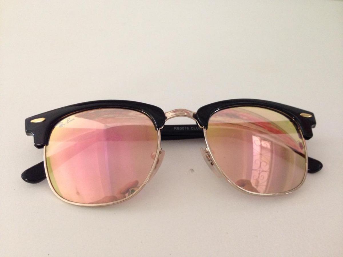 5025e717b2f6e ray ban clubmaster preto solar lente espelhada rosa original. Carregando  zoom.