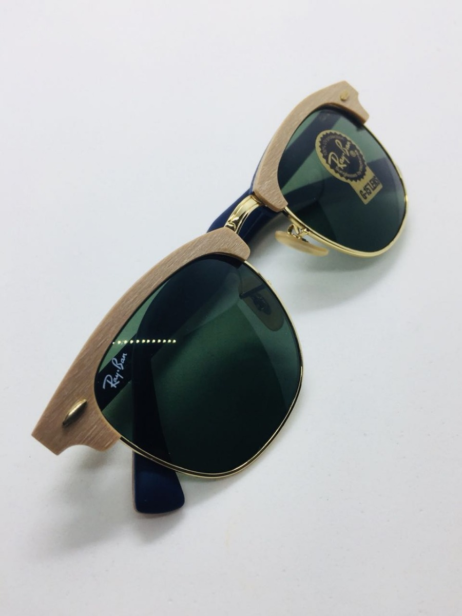 ad46d09c1a576 Ray Ban Clubmaster Rb3016 Madeira Wood Marrom E Verde G15 - R  387 ...