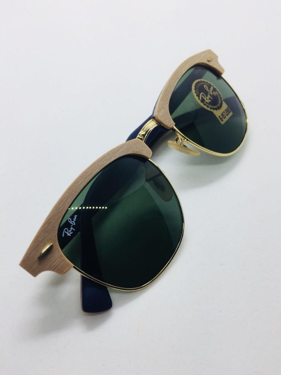 82684c0121e9a Ray Ban Clubmaster Rb3016 Madeira Wood Marrom E Verde G15 - R  387 ...