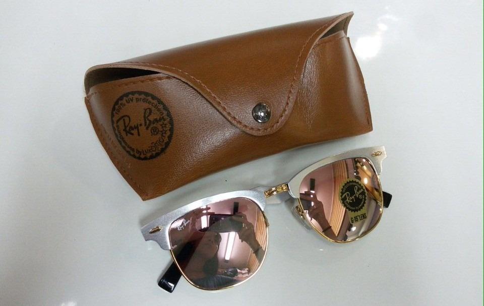 399dd57be3e3e Ray Ban Clubmaster Rose Gold Rosa Espelhado Feminino - R  169,90 em ...