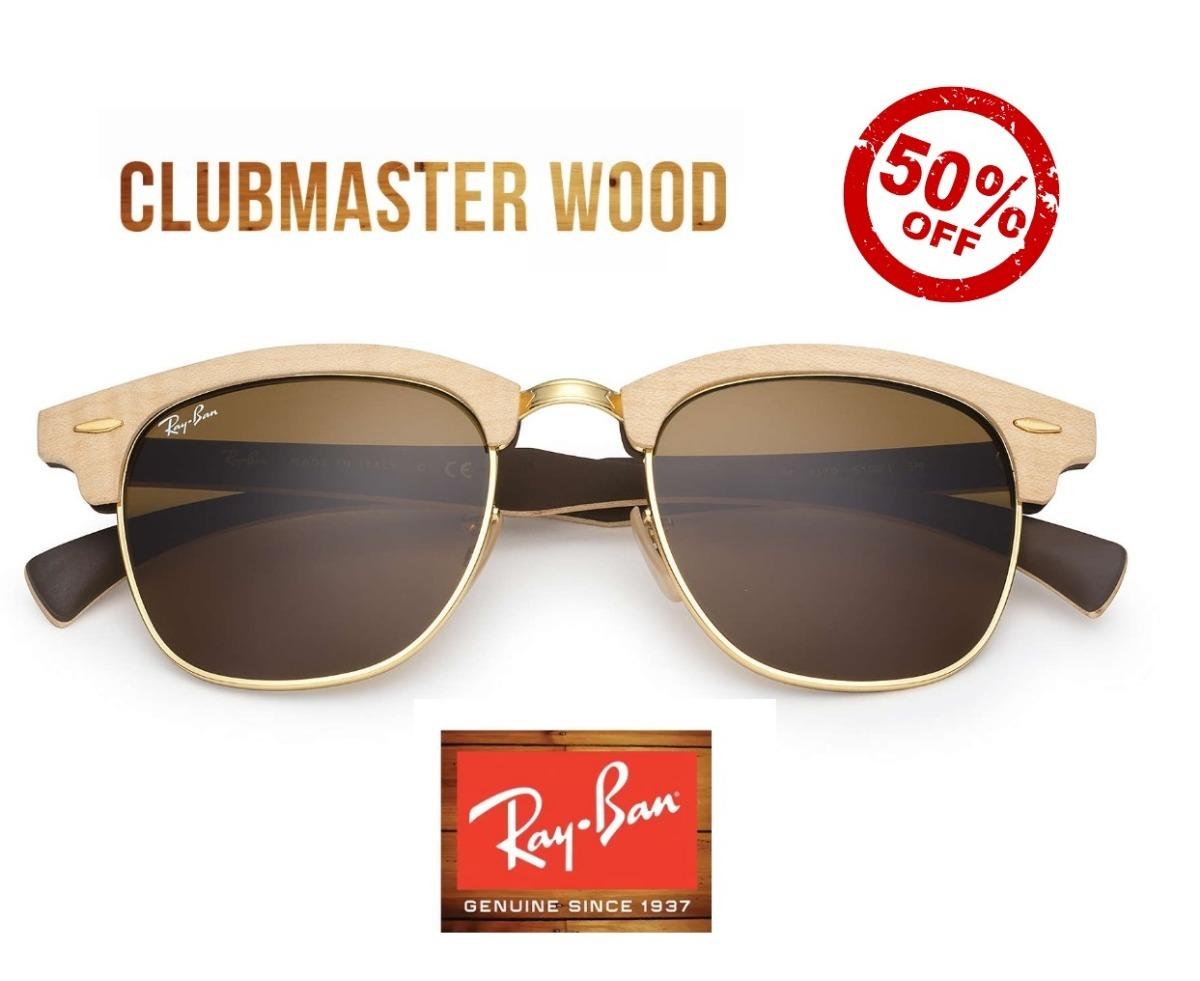 7edbf12290bbb ray ban clubmaster wood madeira rb3016 original lancamento. Carregando zoom.