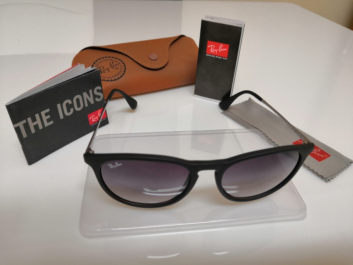 be3ff794dca16 Óculos De Sol Ray-ban Érika Rb4171 Preto Clássico - R  290,00 em Mercado  Livre