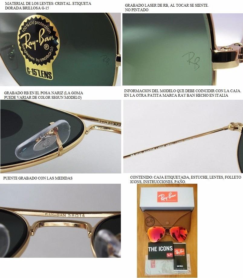 Lentes Gafas Ray Ban Aviator Rb3025 Espejado Clasico Aviador -   1 c0dd2164a5cb