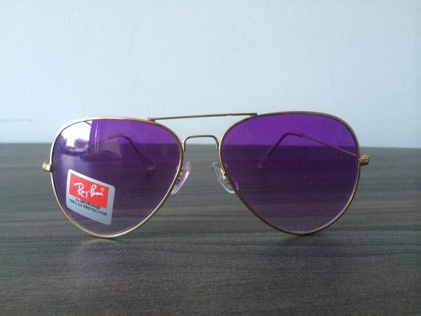 Óculos Ray Ban Aviador Roxo Espelhado Completo 100% Original - R ... e9ba074075