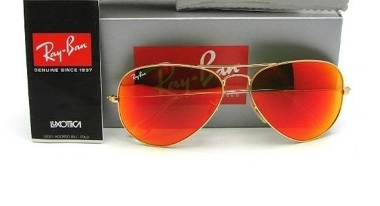 óculos ray ban azul espelhado aviador original + proteção uv. Carregando  zoom. b2a257f8eb