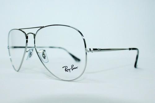 ray ban oftalmico rb6489 2501 plateado aviator large metal