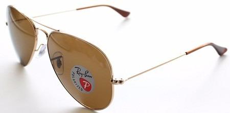Ray Ban Polarizado Rb3025 001 57 58 Dourado Aviador Marrom - R  545 ... b14bf067ca