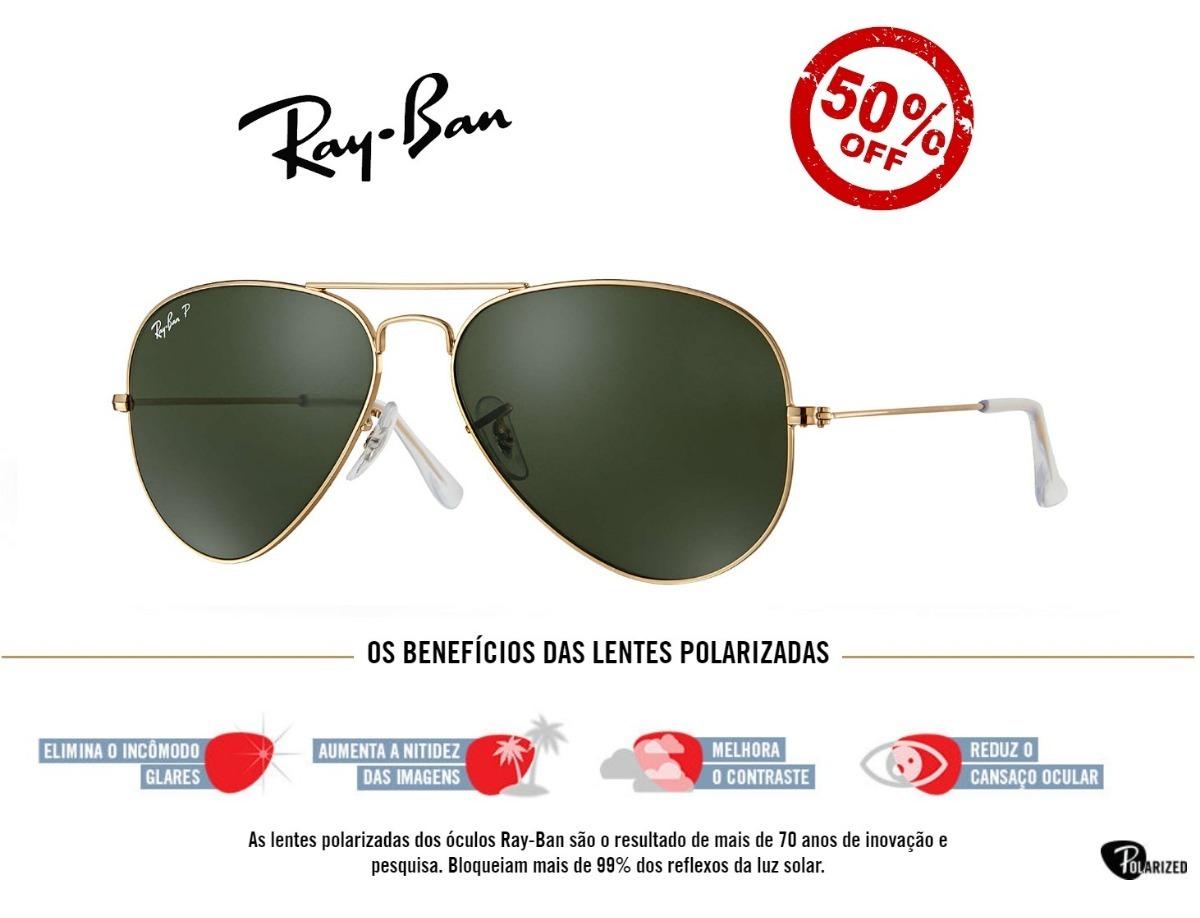 ed1de3678 Ray Ban Rb3025 Aviador Polarizado De Cristal + Brinde - R$ 269,99 em ...