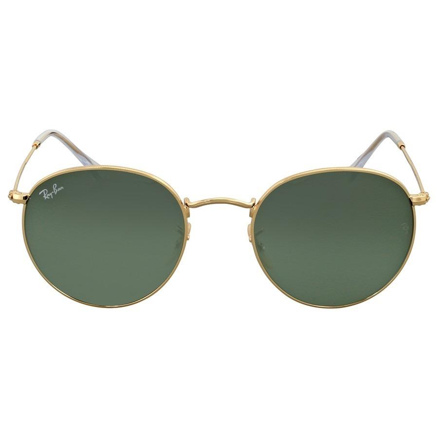 ed5715ec69ded ray-ban rb3447 001 53 round metal - gold green g15. Carregando zoom.