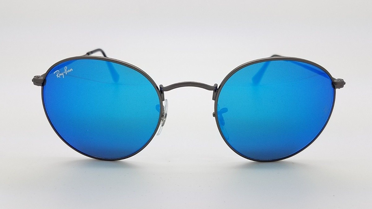 ray ban rb3447 029 17 round metal azul espejo gris original. Cargando zoom. 14eef67f22