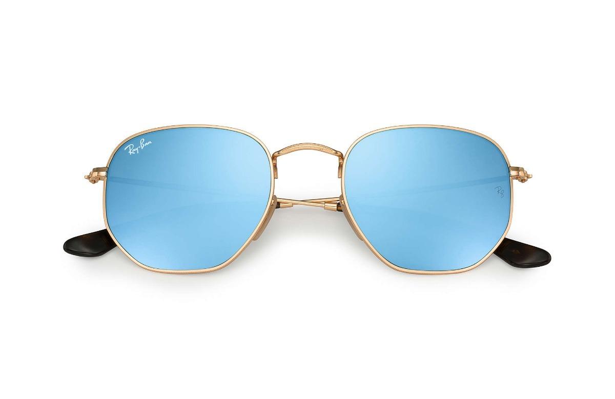 47f13f0d1739e Ray-ban Rb3548 Hexagonal Original Dourado Azul Espelhado - R  192,00 ...