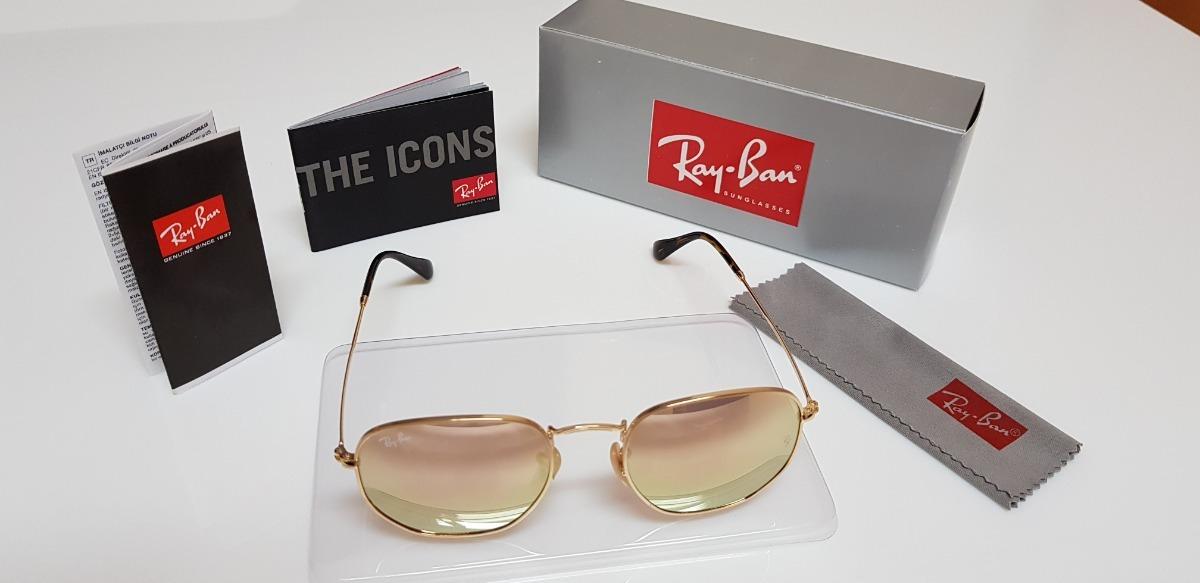 20604280a3ea0 Óculos De Sol Ray-ban Hexagonal Metal Rb3548n Rosê Espelhado - R  290,00 em  Mercado Livre