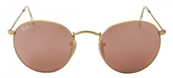 35eaade12 Ray-ban-round 3447-óculos De Sol Espelhado-dourado Fosco - R$ 473,90 ...