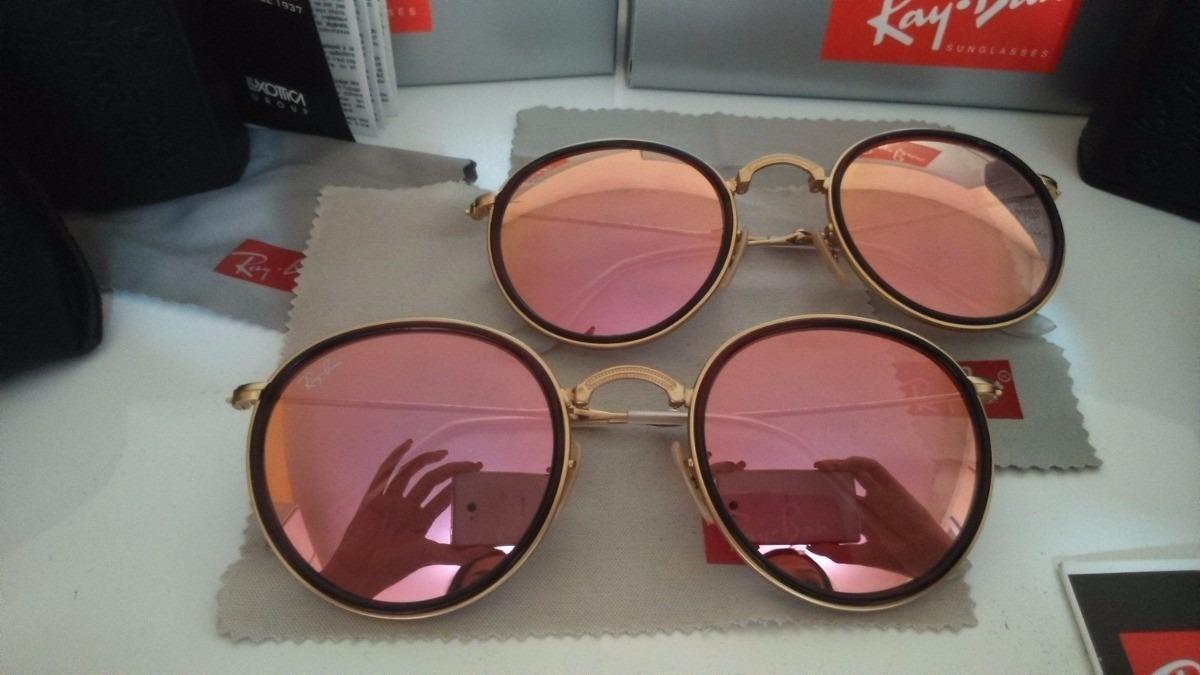 Ray Ban Round Dobravel Rose Espelhado - R  149,00 em Mercado Livre ebee5799e8