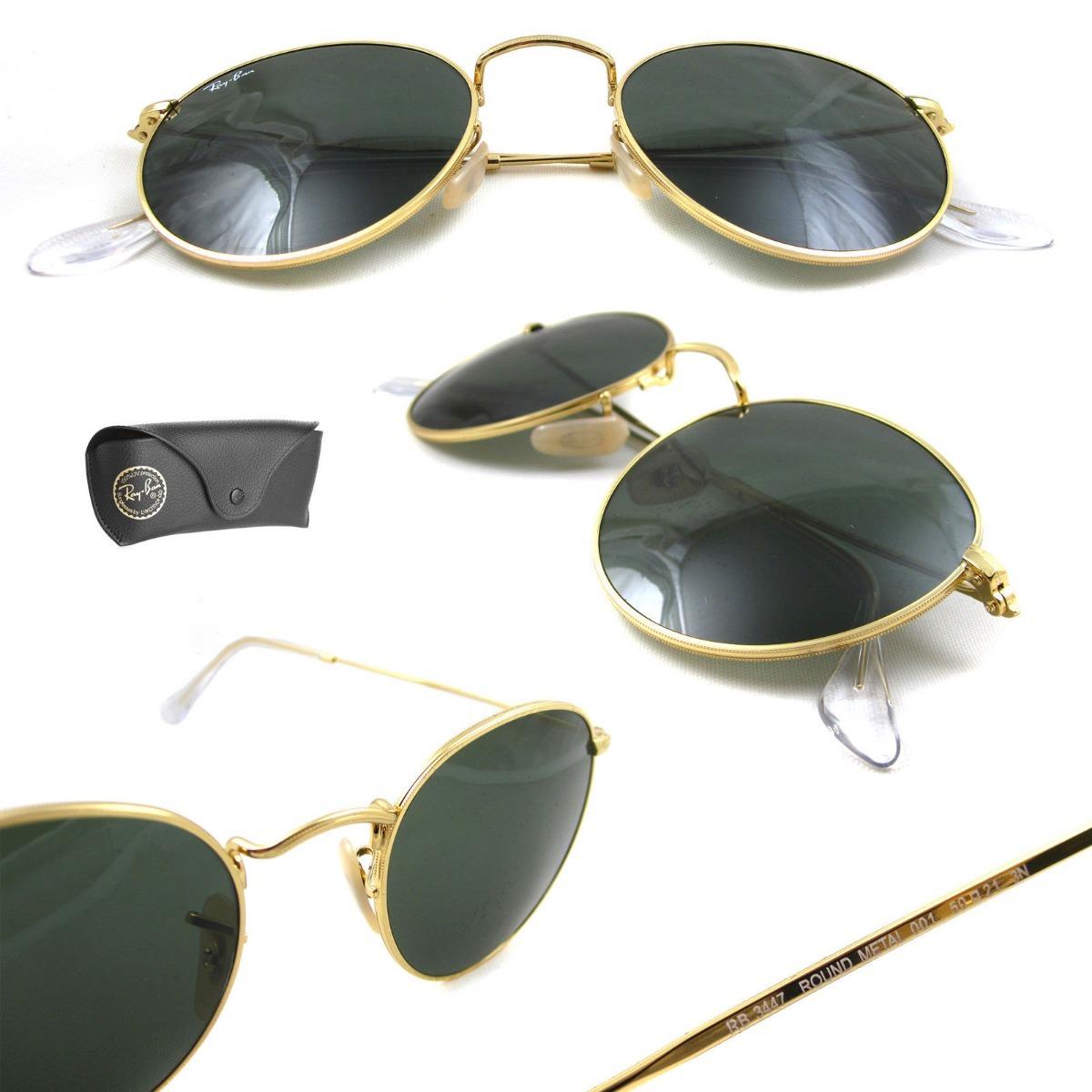 8a7b6434b39f1 Óculos De Sol Ray Ban Rb3447 Round Redondo Dourado G-15 - R  319,00 ...