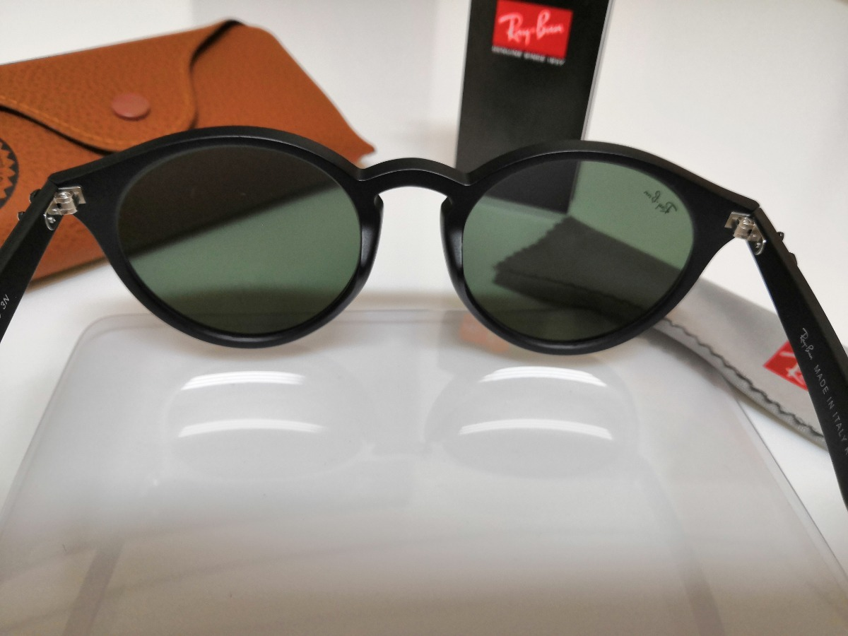 9969d603f60d2 Óculos De Sol Ray-ban Rb2180 Round Preto E Lentes Verdes G15 - R ...