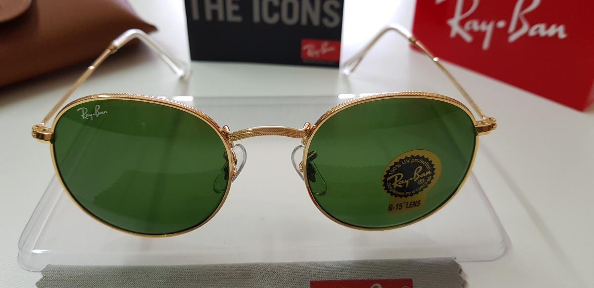 016d8f9a7e584 Carregando zoom... óculos sol ray-ban round metal rb3447 verde g15 original