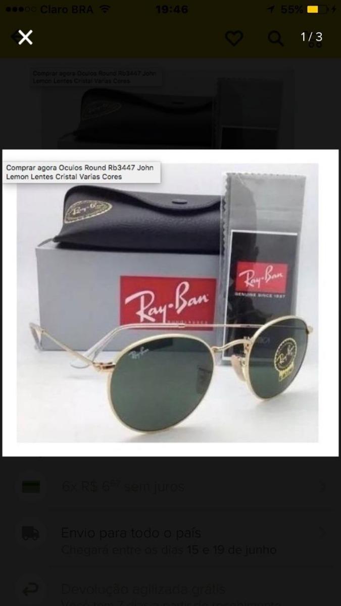 Ray Ban Round Rb 3447 Original+ Brinde Preto-frete Grátis - R  180 ... 3dc44271b9