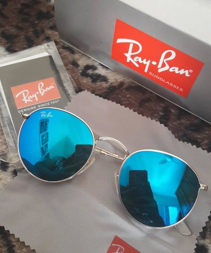 421b2b133 Ray Ban Round Rb3447 Azul Redondo Retro Masculino Feminino - R$ 319 ...