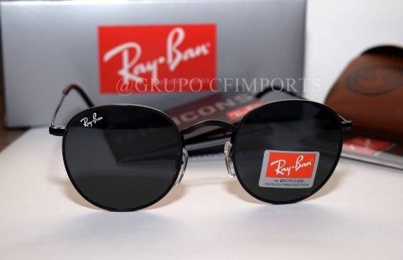 9d66b8827807f Ray Ban Round Rb3447 Preto Redondo Retro Masculino Cristal - R  249 ...