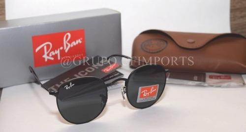 2c5439935 Ray Ban Round Rb3447 Preto Redondo Retro Masculino Cristal - R$ 249 ...