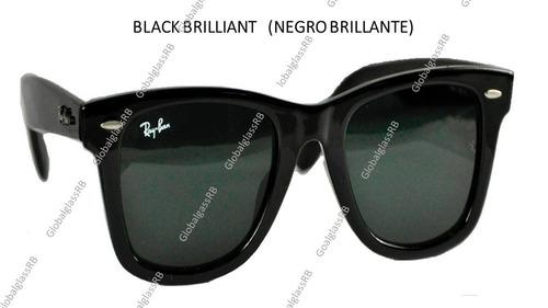 ray-ban wayfarer negro  brillante lentes  *envio gratis*