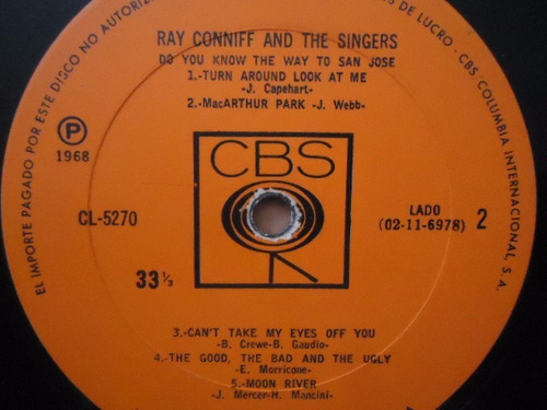 ray conniff / do you know the way to san jose lp