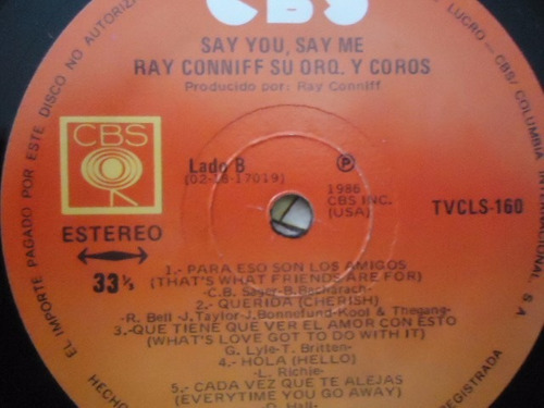ray conniff / say you say me vinyl lp acetato
