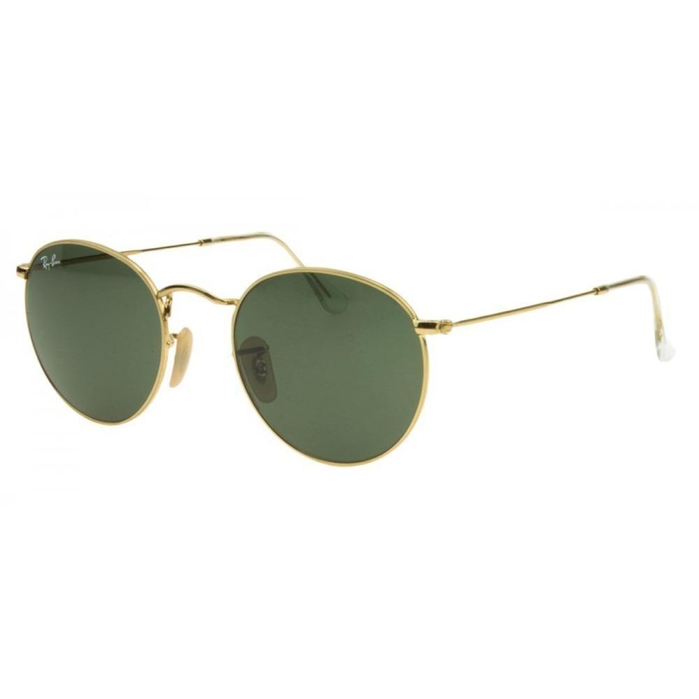 8bf182ad62ff2 rayban rb3447 round dourado verde claro óculos 5 cm. Carregando zoom.