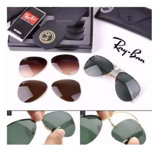 f357044a49ef6 Rayban Top Tech Flip Out Rb3460 + 3 Lentes + Cx Orga + Estoj - R ...