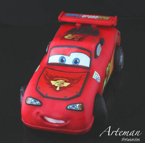 rayo mc queen cars en porcelana fria adorno torta cars2