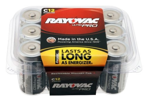 rayovac alc-12 ultrapro alcalinas c pilas, 12-pack