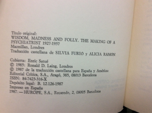 razón, demencia y locura - r. d. laing - ed. critica - 1987